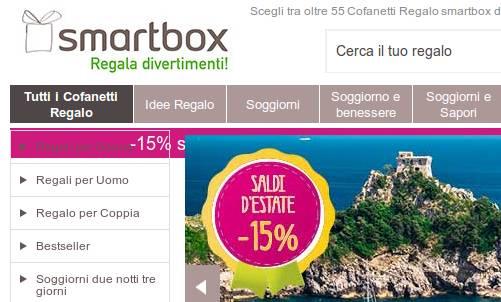 Su smartbox sconto 15 su tutti pacchetti soggiorno for Cofanetti soggiorno
