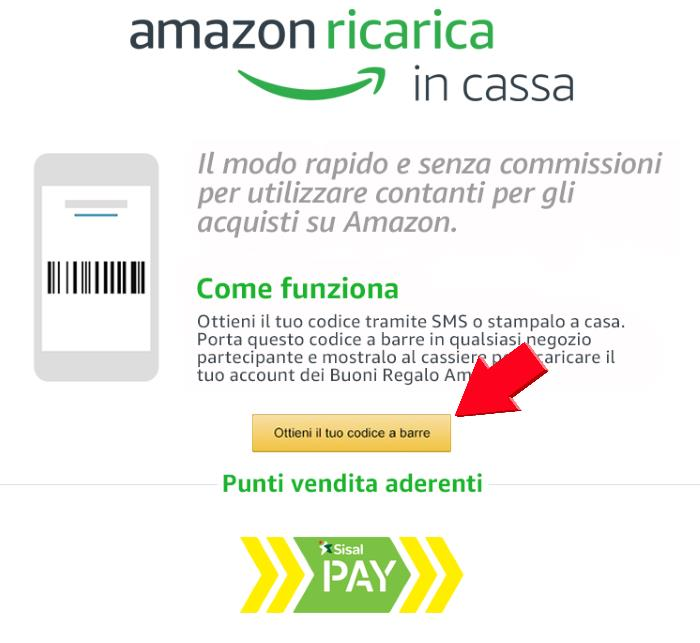 4d86b6c329 10 euro su Amazon presentando un codice a barre presso i punti Sisal